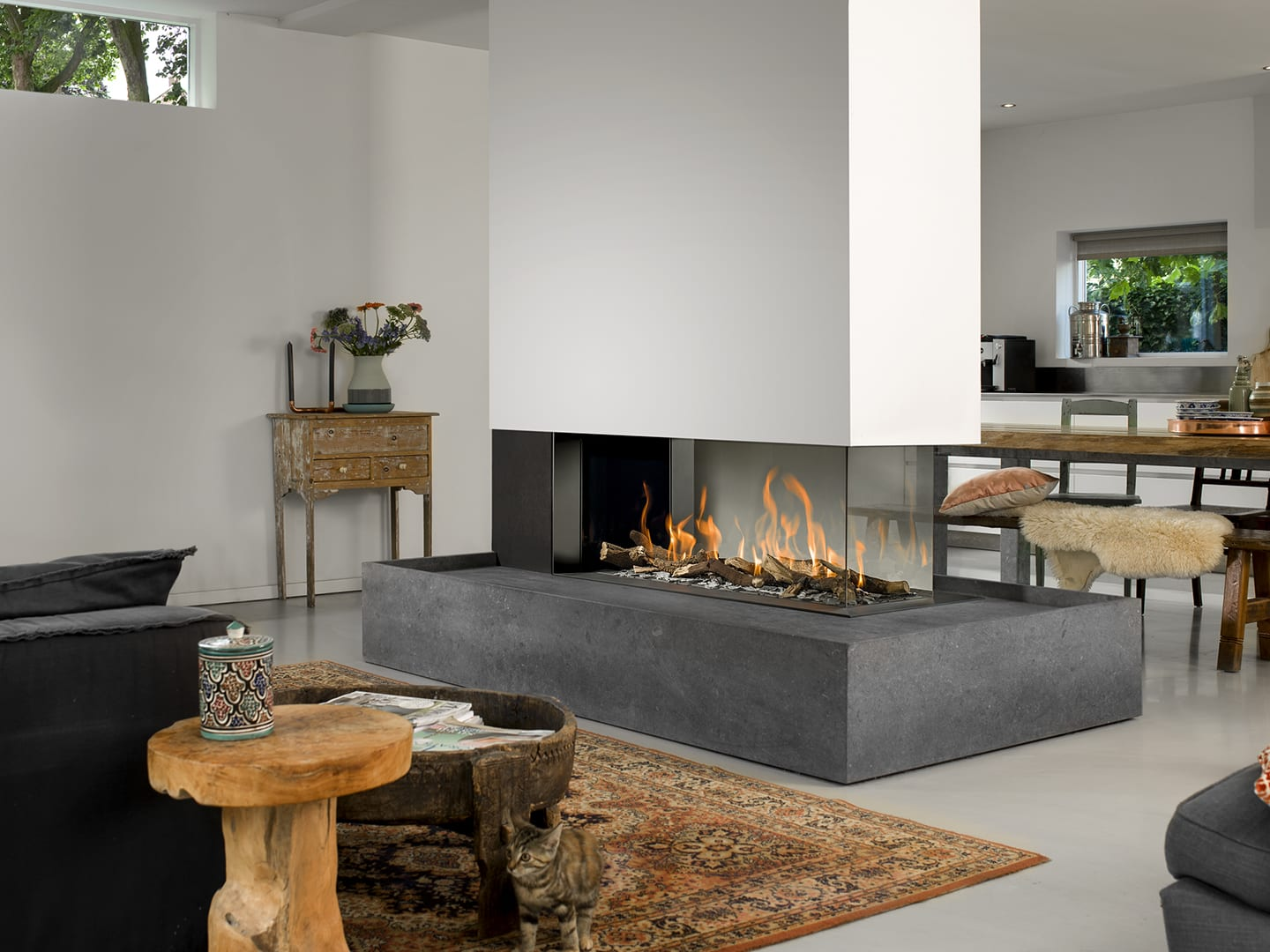 Bellfire Room Divider Large 3 Gas Fireplace