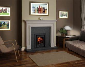 Bolection Chamot Limestone Fireplace (with shelf)