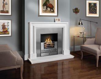 Bolection Aegean Limestone Fireplace