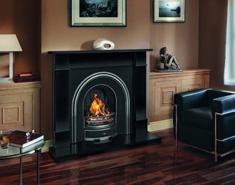 Flat Victorian Black Granite Fireplace