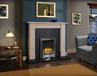 Victorian Classic Chamot Limestone Fireplace