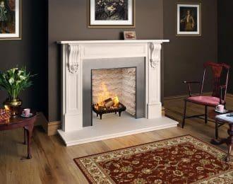 William IV Aegean Limestone Fireplace