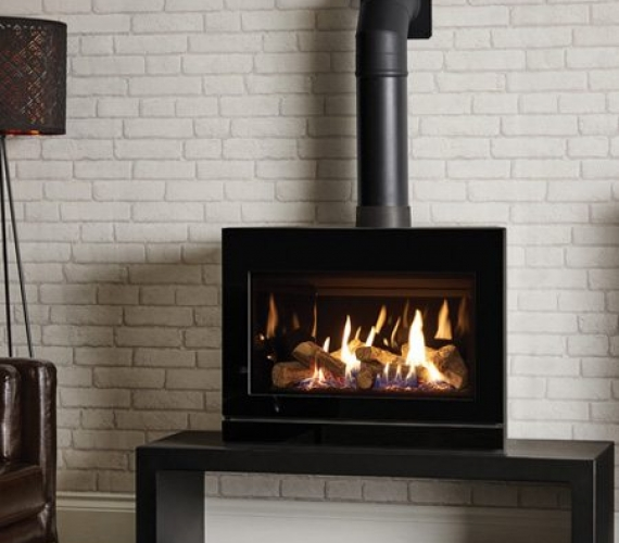 Gazco Riva 2 F670 Gas Fire Modern Black Glass Gas Fire By The Fire